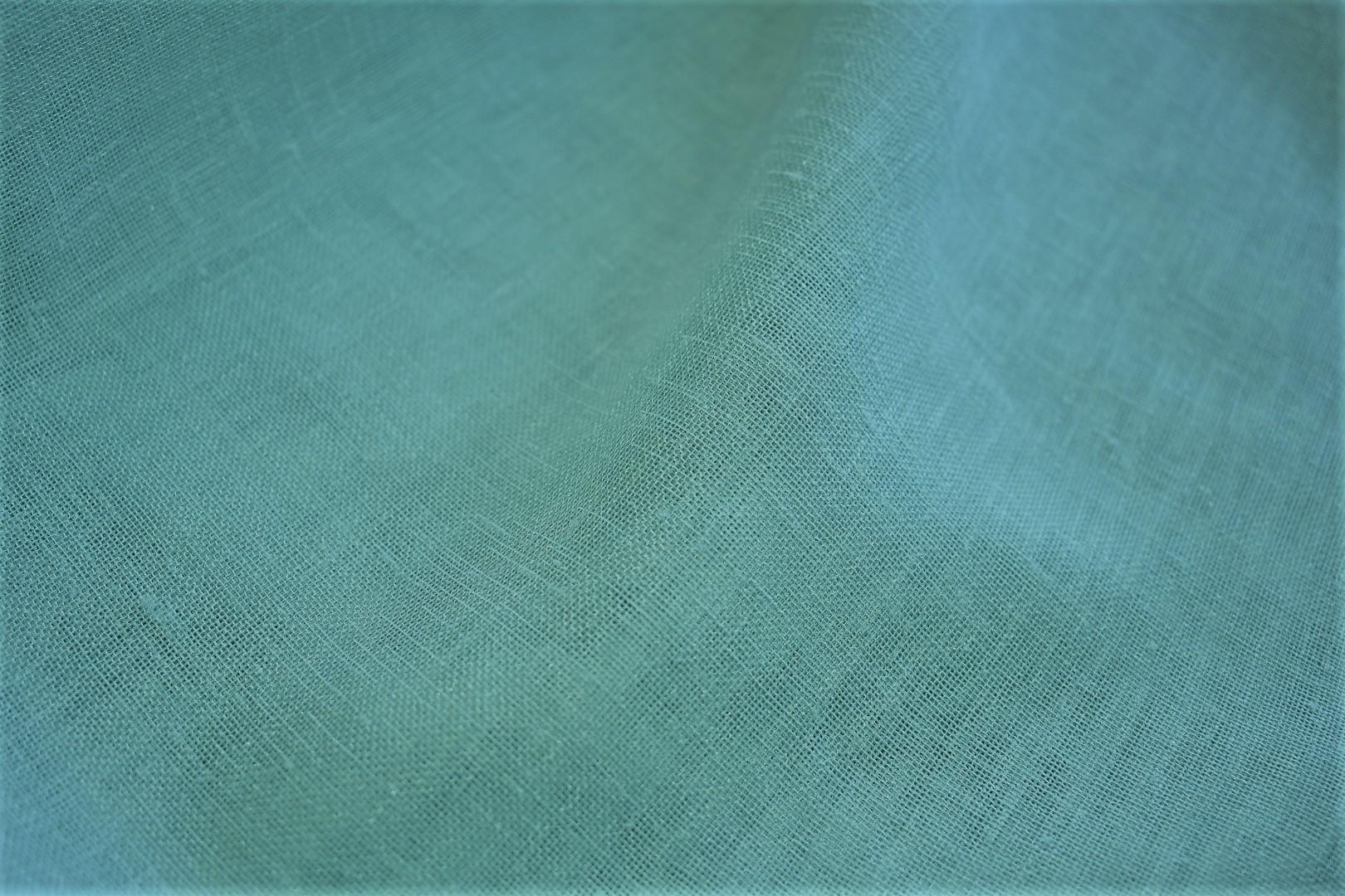 Light Mint Plain Linen Like Sheer Curtain Blue Stag